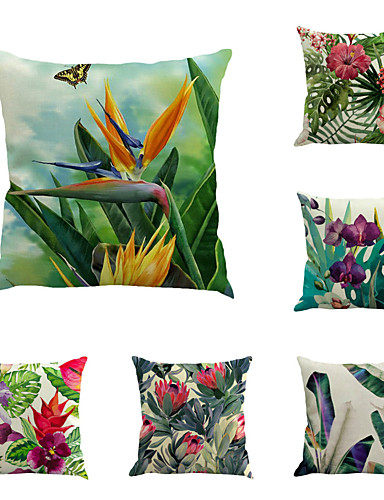 cheap Cushion Covers-Set of 6 Linen Pillow Cover, Botanical Floral Print Rustic Holiday Throw Pillow