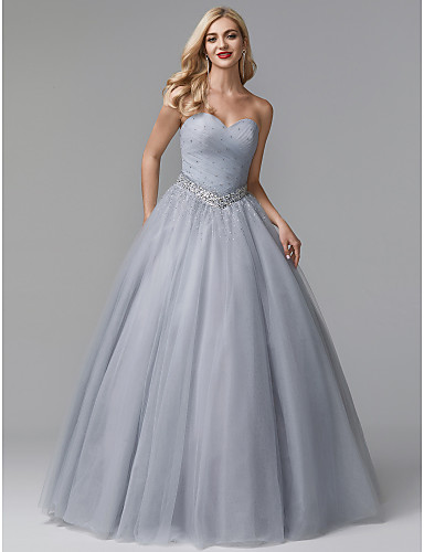 cheap Special Occasion Dresses-Ball Gown Luxurious Grey Quinceanera Formal Evening Dress Sweetheart Neckline Sleeveless Floor Length Tulle Stretch Satin with Crystals Beading 2020