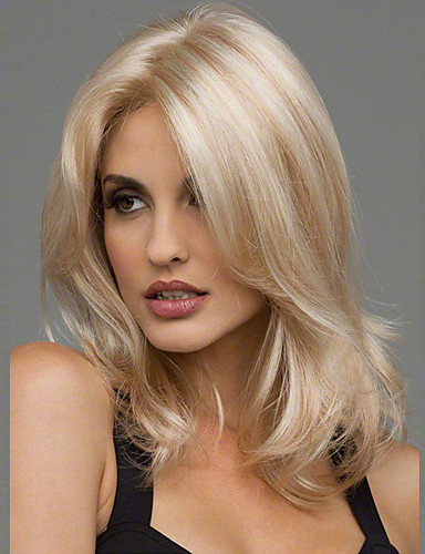 cheap Synthetic Wigs-Synthetic Wig Wavy Wavy Wig Blonde Medium Length Blonde Burgundy Brown Black Synthetic Hair 20 inch Women's Heat Resistant Middle Part Blonde