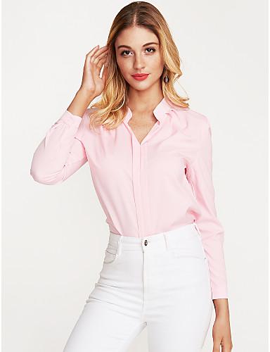 billige Dametopper-Bomull Skjortekrage Bluse Dame - Ensfarget Dusty Rose Hvit / Vår