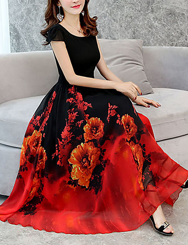 fb2297f81c Women s Floral Plus Size Casual Going out Long Loose Chiffon Swing Dress - Floral  Print Green Red Purple XXXL XXXXL XXXXXL 6765533 2019 –  25.19