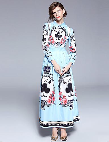 voordelige Maxi-jurken-Dames Feestdagen Uitgaan Boho Street chic Wijd uitlopend Jurk - Bloemen, Print Overhemdkraag Maxi