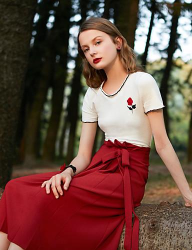 billige Dametopper-Bomull Tynn T-skjorte Dame - Ensfarget, Broderi Grunnleggende