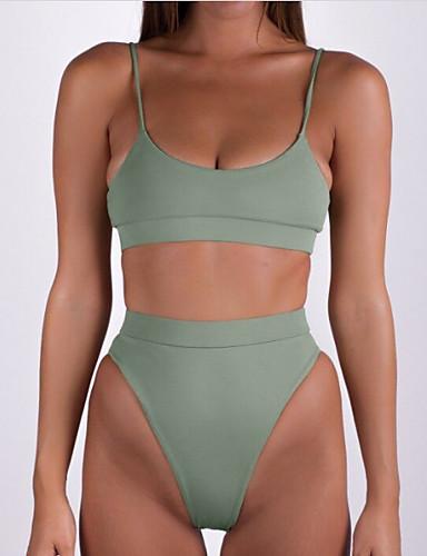 preiswerte Volltonfarbe-Damen Grundlegend Gurt Armeegrün Bandeau Tanga-Bikinihose Bikinis Bademode - Solide Rückenfrei S M L Armeegrün / Sexy