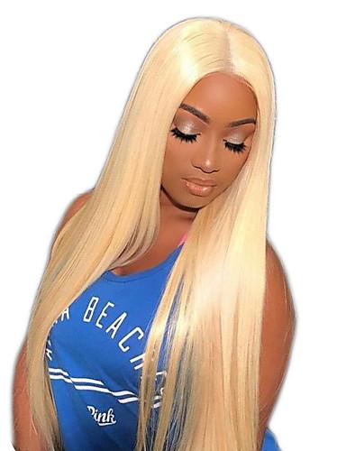preiswerte Blonde Lace Wigs-Unbehandeltes Haar Vollspitze Perücke Gaga Stil Brasilianisches Haar Glatt Blond Perücke 150% Haardichte mit Babyhaar Natürlicher Haaransatz Damen Mittlerer Länge Lang Sehr lang Echthaar Perücken mit