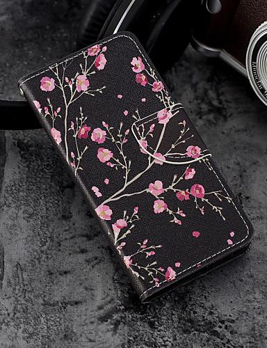 Etui Til Apple iPhone X / iPhone 8 Plus / iPhone 8 Lommebok / Kortholder / med stativ Heldekkende etui Blomsternål i krystall Hard PU Leather