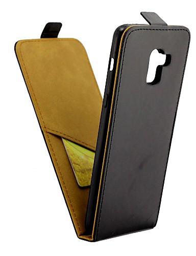 Etui Til Samsung Galaxy A8+ 2018 Kortholder / Flipp Heldekkende etui Ensfarget Hard PU Leather