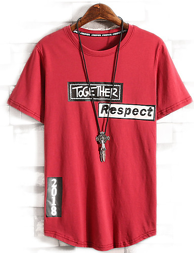 preiswerte Ausverkauf-Herrn Buchstabe T-shirt, Rundhalsausschnitt Weiß / Kurzarm