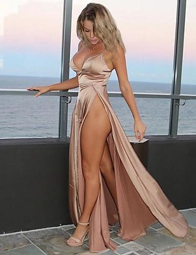 preiswerte Slip-Kleider-Damen Party Strand Sexy Baumwolle Skinny Swing Kleid - Rückenfrei, Solide Maxi Tiefes V
