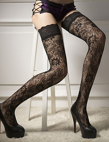 cheap Women's Lingerie-Women's Thin Stockings - Solid Colored 30D Black One-Size