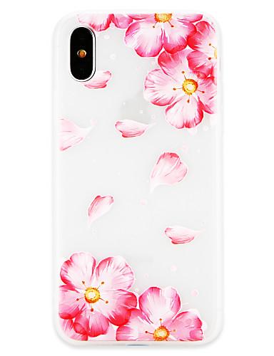Etui Til Apple iPhone X / iPhone 8 Plus / iPhone 8 Ultratynn Bakdeksel Blomsternål i krystall Myk TPU