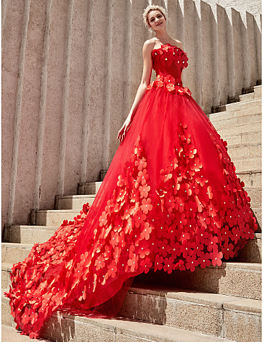 cheap Wedding Dresses-Ball Gown Strapless Court Train Tulle Strapless Country / Glamorous Plus Size Wedding Dresses with Crystals / Flower 2020