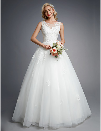 cheap Plus Size Wedding Dresses-Ball Gown Jewel Neck Floor Length Lace / Tulle Made-To-Measure Wedding Dresses with Beading / Appliques by LAN TING BRIDE®