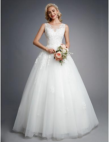 billige Brudekjoler til under 1941 kr-Ballkjole Besmykket Gulvlang Blonder / Tyll Made-To-Measure Brudekjoler med Perlearbeid / Appliqué av LAN TING BRIDE®
