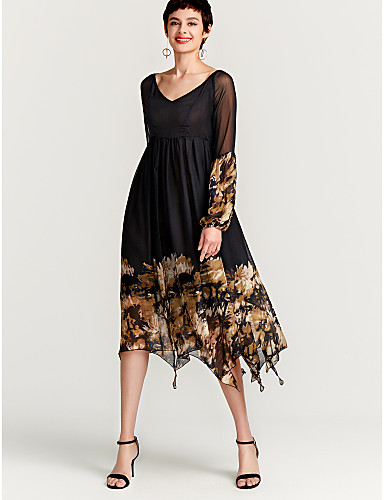 levne Maxi šaty-Dámské Základní Swing Šaty - Květinový, Tisk Maxi Černá