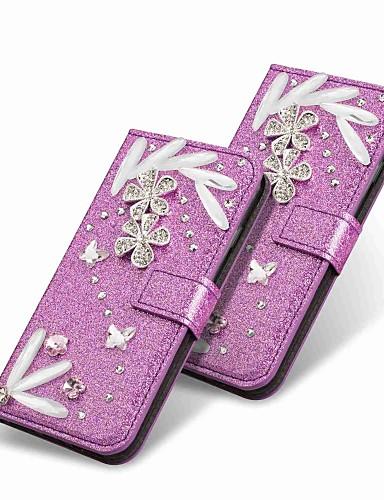 Etui Til Huawei Huawei P20 / P10 Lite / P10 Lommebok / Rhinstein / med stativ Heldekkende etui Glimtende Glitter Hard PU Leather
