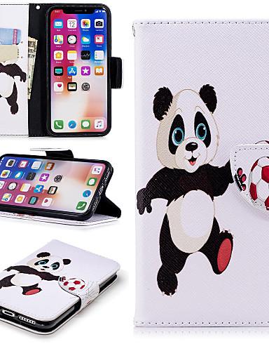 Etui Til Apple iPhone X / iPhone 8 Plus / iPhone 8 Lommebok / Kortholder / med stativ Heldekkende etui Panda Hard PU Leather