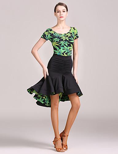 cheap Latin Dancewear-Latin Dance Skirts Pattern / Print Ruching Women's Training Performance Short Sleeve High Ice Silk