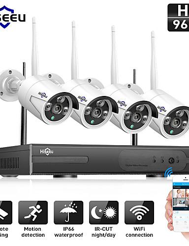 billige Sikkerhet og overvåkning-hiseeu® 4ch trådløs 1080p med ip66 vanntett 4stk 2mp ip kamera dag natt bevegelsesdeteksjon vanntett pal / ntsc fjernovervåkning visning trådløs tilkobling mobil tilgang flerspråklig