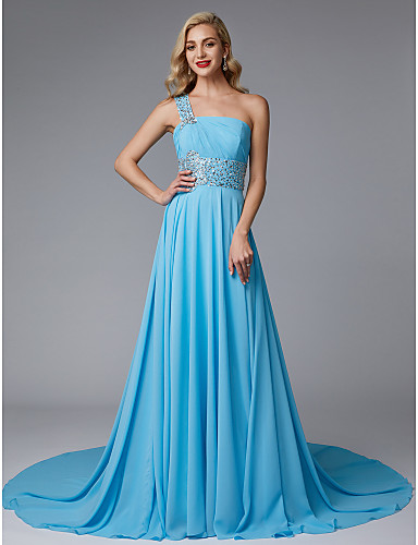 dae887e25926 A-Line One Shoulder Court Train Chiffon Open Back   Beautiful Back Formal  Evening Dress with Beading   Pleats by TS Couture® 5035400 2019 –  129.99