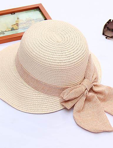 preiswerte Packe für den Strand ein-Damen Aktiv Urlaub,Stroh Spitze Strohhut-Rüsche Solide Sommer Beige Marineblau Khaki