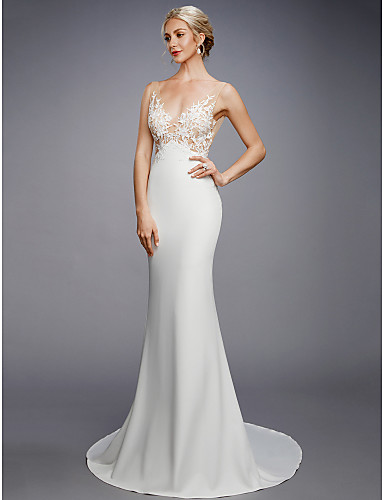 cheap Wedding Dresses-Mermaid / Trumpet Wedding Dresses V Neck Court Train Lace Knit Regular Straps Sexy Backless with Appliques 2020