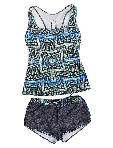eded32e85c5 Women's Basic Strap Blue Orange Boy Leg Tankini Swimwear - Geometric  Racerback / Criss Cross / Print L XL XXL / Sexy 6763103 2019 – $49.34