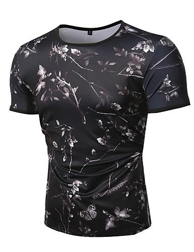 7762ddea3df0 Ανδρικά T-shirt Βαμβάκι Φλοράλ Στρογγυλή Λαιμόκοψη   Κοντομάνικο 6748525  2019 –  15.99