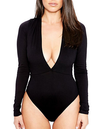 preiswerte Oberteile-Damen Solide Bodysuit, Tiefes V Weiß