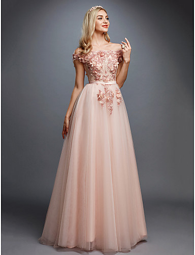 cheap Wedding Dresses-A-Line Off Shoulder Sweep / Brush Train Tulle Over Lace Floral / Pink Prom / Formal Evening Dress with Appliques 2020
