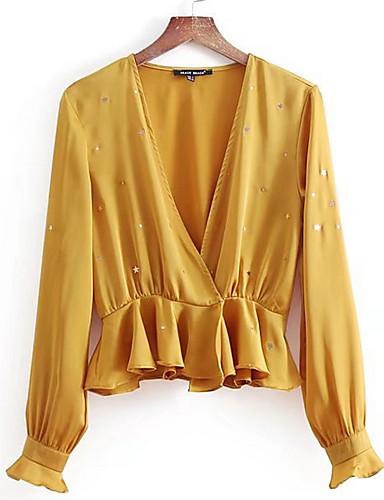 billige Dametopper-V-hals Store størrelser Skjorte Dame - Ensfarget Rosa