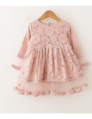 preiswerte Kleider mit Spitze für Mädchen-Kinder Mädchen Grundlegend Alltag Staubige Rose Solide Patchwork Langarm Übers Knie Kleid Rosa / Baumwolle