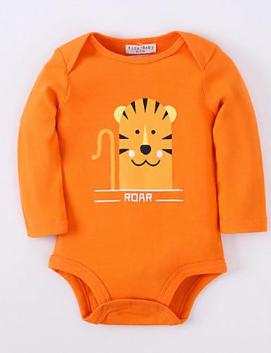 preiswerte Mode für Jungs-Baby Jungen Grundlegend Alltag Druck Tiermuster Langarm Baumwolle Body Orange