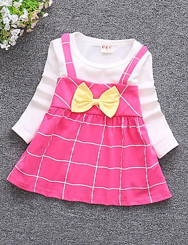 preiswerte Schleifen-Mädchenkleidung-Baby Mädchen Aktiv Alltag / Ausgehen Druck Langarm 50-60 cm Baumwolle Kleid Rosa
