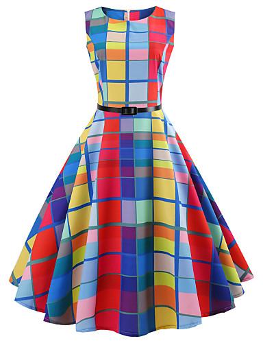 preiswerte Vintage-inspirierte Styles-Damen Ausgehen Retro Baumwolle A-Linie Kleid Schachbrett Knielang