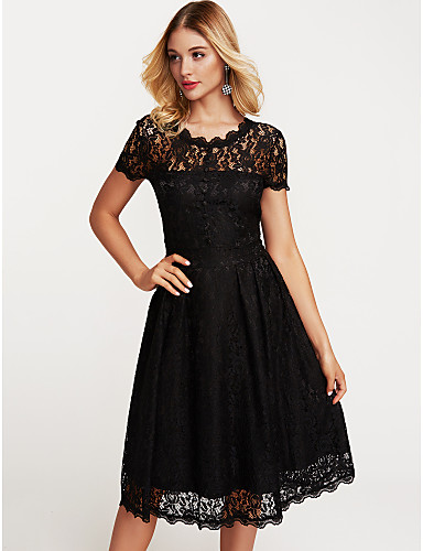 8aad3457d98b Women s Lace Daily Sheath   Swing Dress - Solid Colored Black
