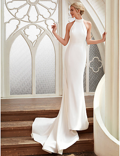 cheap Wedding Dresses-Sheath / Column Halter Neck Court Train Chiffon / Satin Regular Straps Simple Backless / Elegant Wedding Dresses with 2020 / Royal Style