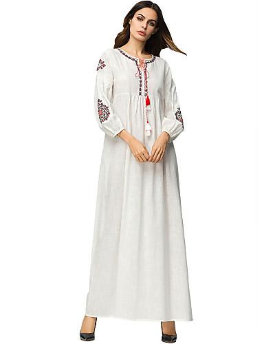 voordelige Maxi-jurken-Dames Standaard Katoen Ruimvallend Abaya Jurk Geborduurd Maxi
