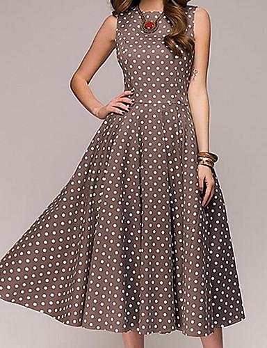preiswerte Vintage-inspirierte Styles-Damen Party Ausgehen Retro Baumwolle A-Linie Kleid Punkt Midi