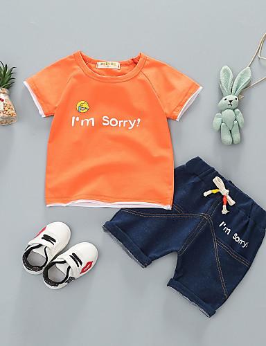 preiswerte Ausverkauf-Baby Unisex Grundlegend Alltag Solide Kurzarm Standard Baumwolle Kleidungs Set Weiß