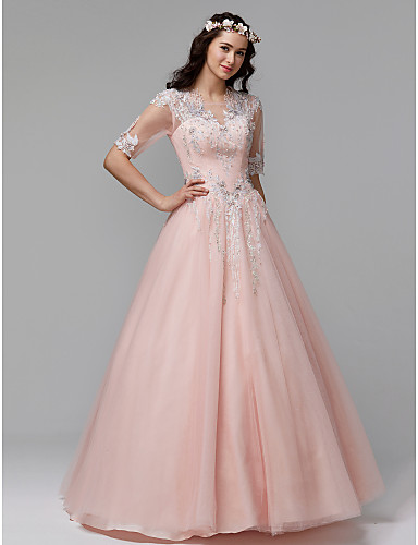 635c205c5c4 Ball Gown Scoop Neck Floor Length Lace   Tulle Prom   Formal ...