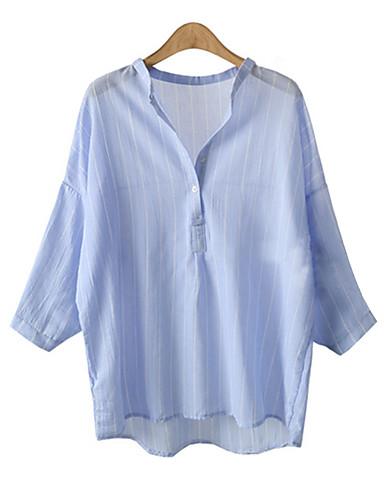 billige T-skjorter til damer-Bomull Høy krage T-skjorte Dame - Stripet Blå