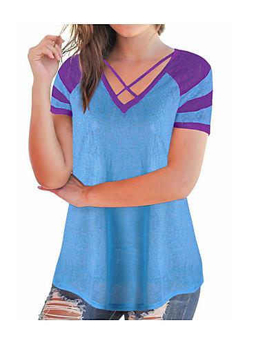 billige Topper til damer-Bomull V-hals T-skjorte Dame - Fargeblokk, Kryss / Lapper Grunnleggende / Gatemote Navyblå / Sommer
