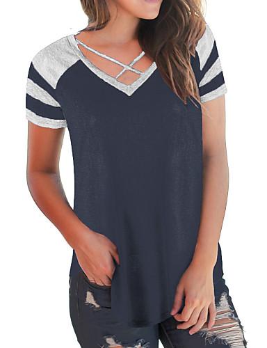 billige Dametopper-Bomull V-hals T-skjorte Dame - Fargeblokk, Kryss / Lapper Grunnleggende / Gatemote Navyblå / Sommer