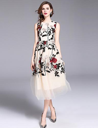 preiswerte Im Trend 2019-Damen Festtage Ausgehen Street Schick Anspruchsvoll A-Linie Swing Kleid - Gitter Bestickt, Blumen Maxi