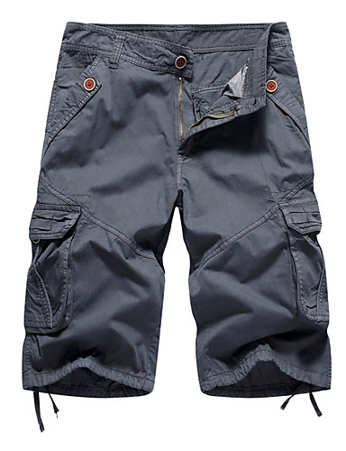 cheap Men's Bottoms-Men's Daily Loose Bootcut Shorts Tactical Cargo Pants - Solid Colored Light Brown Black Blue 30 / 32 / 34