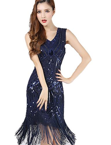 438ed77308e0d The Great Gatsby 1920s Roaring Twenties Costume Women's Flapper Dress Black  / Blue / Golden Vintage Cosplay Chiffon Party Prom Sleeveless Knee Length  ...