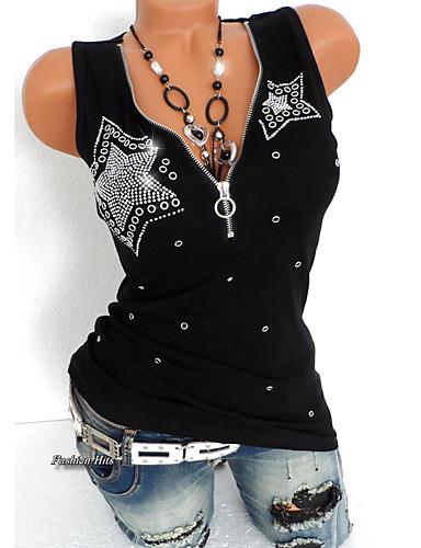 billige Dametopper-Tynn Dyp V Store størrelser T-skjorte Dame - Ensfarget, Paljetter Punk & Gotisk Svart / Sommer