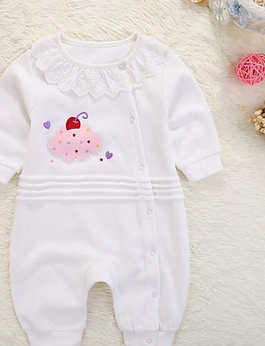 preiswerte Ausverkauf-Baby Mädchen Grundlegend Alltag Solide / Einfarbig Rüsche / Print / Grundlegend Langarm Baumwolle Einzelteil Weiß