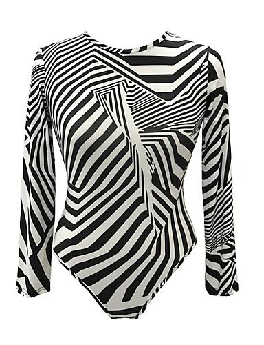 billige Dametopper-Tynn Body Dame - Stripet, Trykt mønster Grunnleggende Klubb Svart og hvit Svart